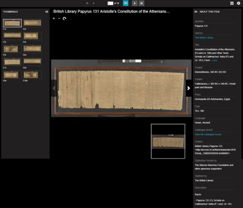A Greek papyrus displayed on the British Library's new image viewer