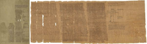 Two parts of a papyrus roll, housed in different institutions, joined together virtually.