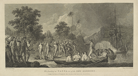Engraving by J K Sherwin, after William Hodges, The Landing at Tanna