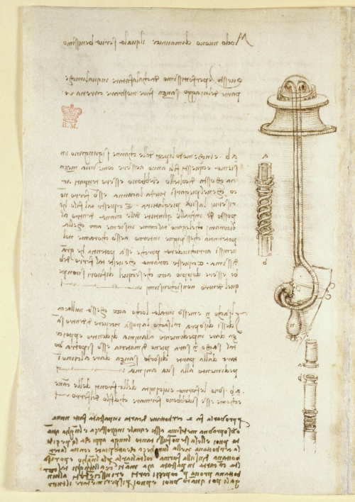 A page from Leonardo da Vinci's notebook, showing his designs for diving equipment and his mirrored handwriting.