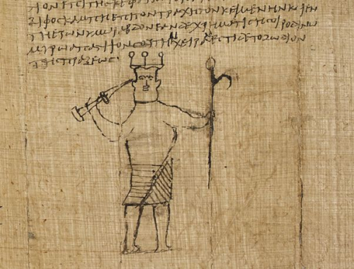 A detail from a 5th-century papyrus, showing a drawing of a demon.