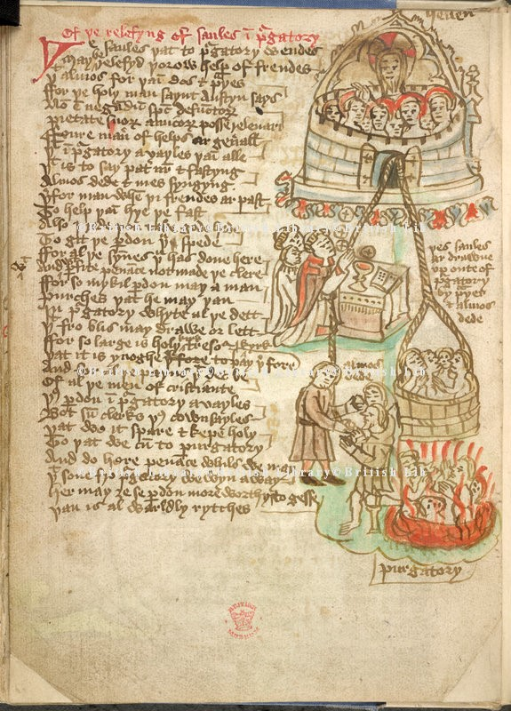 Manuscript illustrating the relieving of souls, 'drawne up oute of purgatory'
