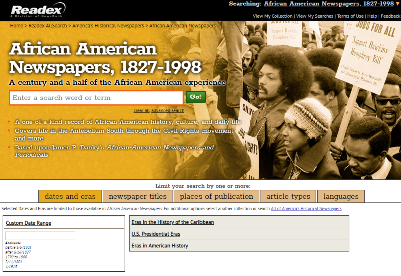 AfAm Newspapers interface