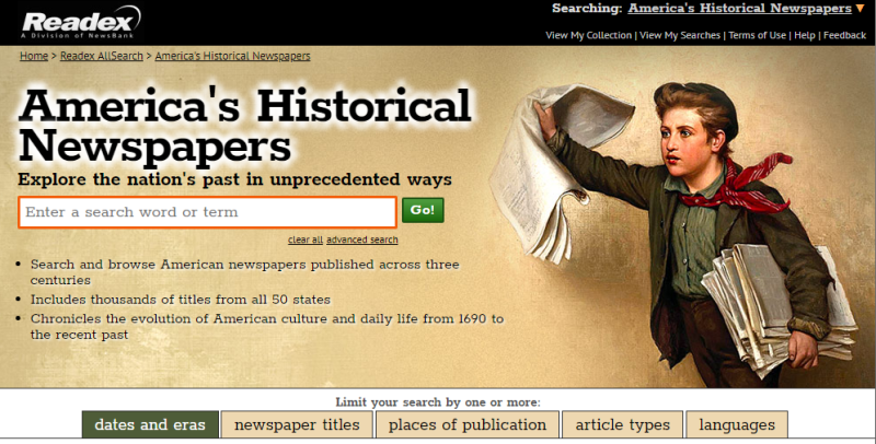 AmHist Newspapers interface