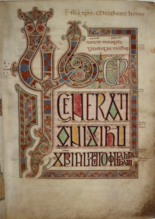 An elaborate decorated page marking the opening of the Gospel of St Matthew, from the Lindisfarne Gospels.