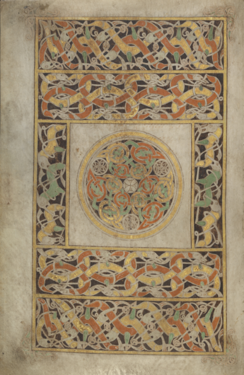 The carpet page preceding the Gospel of St John from the Book of Durrow.
