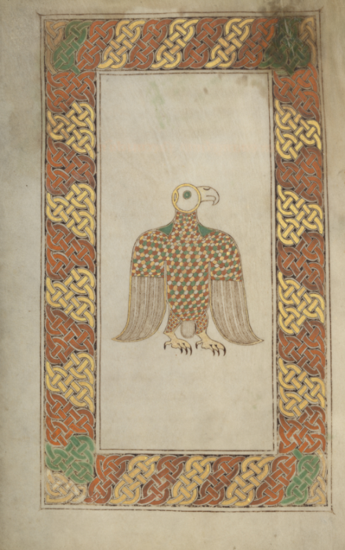 Eagle symbol at teh start of the gospel of Mark