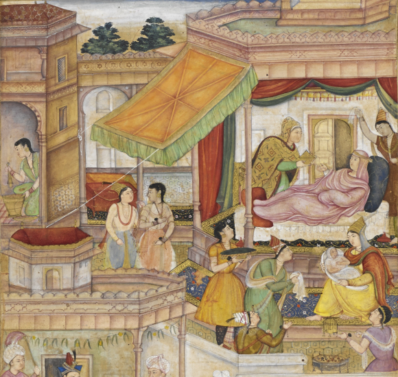 The baby Akbar and his mother Hamidah Banu Maryam Makani, from Abu'l-Fazl's Akbarnāmah. Artists: Sanvala and Narsingh (BL Or.12988, f. 22r )