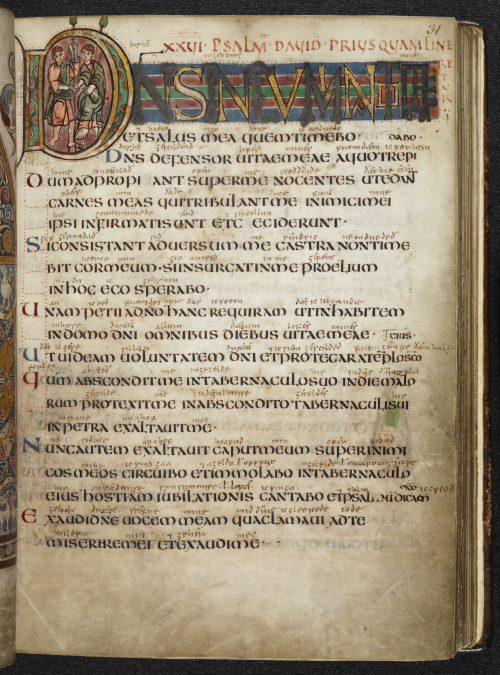 A page from the Vespasian Psalter, showing Psalm 17, marked by a decorated initial containing a portrait of David and Jonathan.