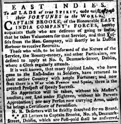 Dublin Evening Press 16 December 1779. Credit: British Newspaper Archive