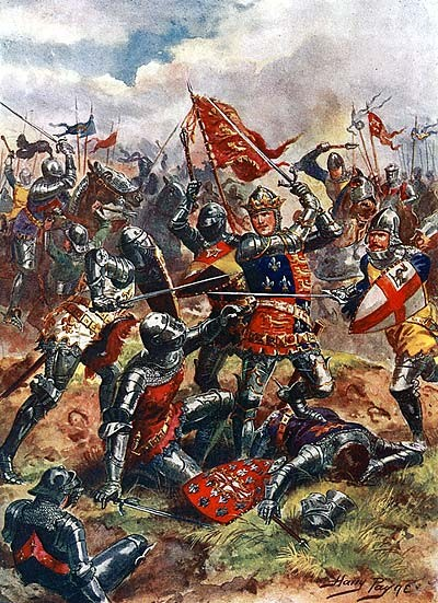 Painting of Henry fifth in battle at Agincourt