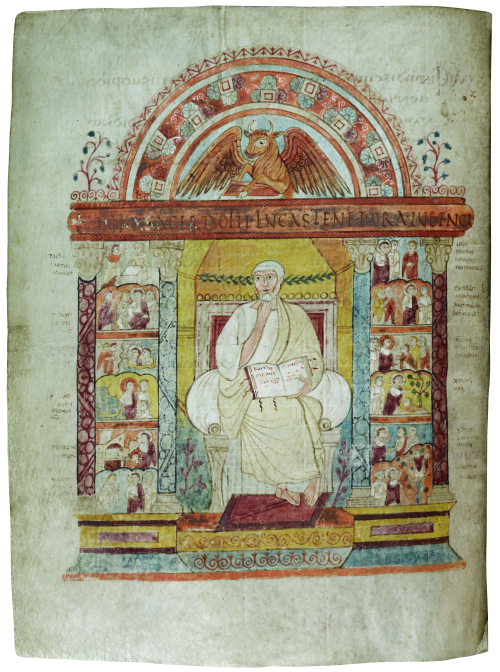 A page from the St Augustine Gospels, showing a portrait of the Evangelist St Luke, surrounded by scenes from his Gospel.