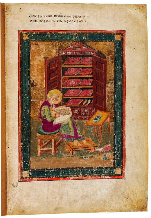 A page from the Codex Amiatinus, showing a portrait of the prophet Ezra writing at a desk.