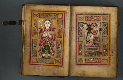 An opening from the MacDurnan Gospels, showing an Evangelist portrait and the beginning of one of the Four Gospels.