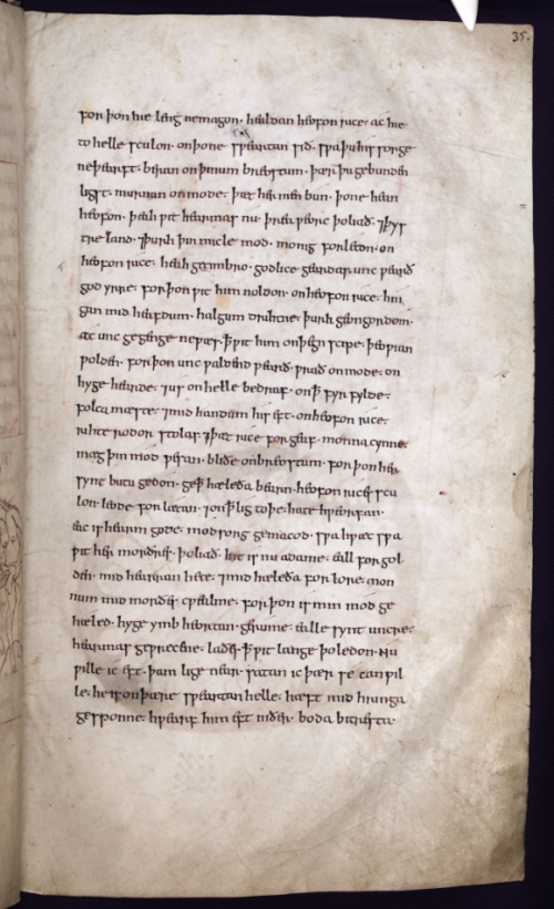 A page from the Junius Manuscript, showing the text of the poem Genesis in Old English.