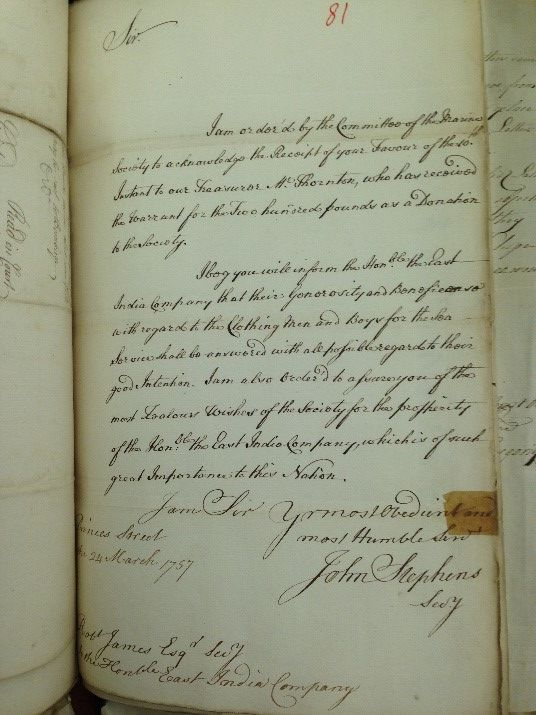 Letter of March 1757 from the Marine Society to the East India Company thanking them for £200