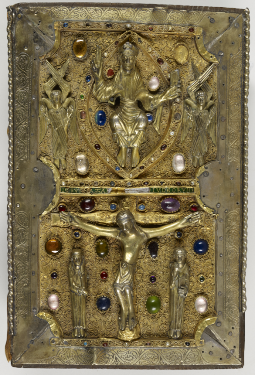 The treasure binding of the Gospel-book of Judith of Flanders, showing the figure of Christ in Majesty and the scene of the Crucifixion.