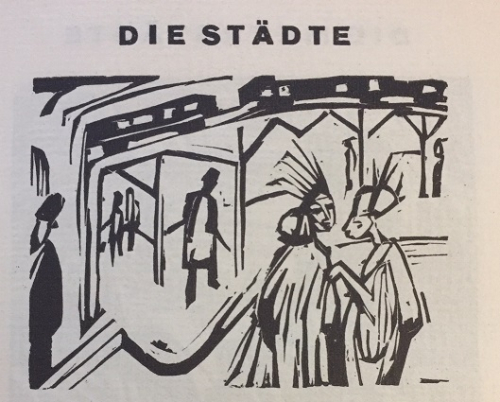 Illustration for 'Die Städte', a street scene with two elegantly-dressed women in the foreground and an overhead railway line