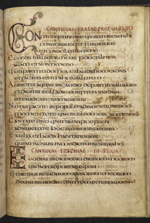 Two canticles, with the off-print from a missing carpet page in the Vespasian Psalter