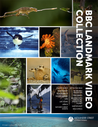 "An advertisement for the ""BBC Landmark Video Collection"" shows a collage of images of animals and plants."