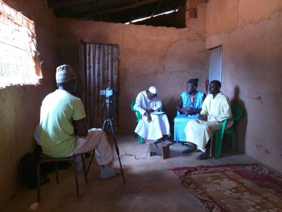 Interviewing manuscript owner Abdou Khadre Cisse