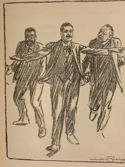 Caricature of Trade Union leader Stenhuis being pulled in two directions by Troelstra and a rival