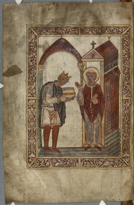 AEthelstan presenting the book to St Cuthbert in Bede'sLives of St Cuthbert