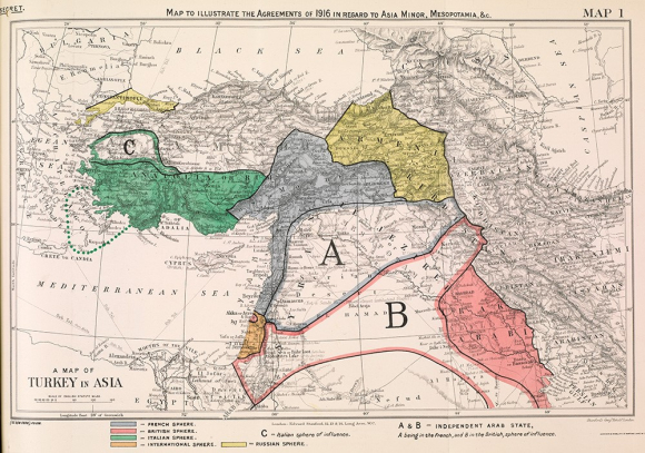 Map of Turkey in Asia, illustrating the 'spheres of influence' agreed between the Allied powers, 1916.