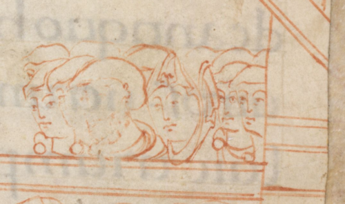 A detail from the Benedictional of Æthelwold, showing a drawing of a group of figures.
