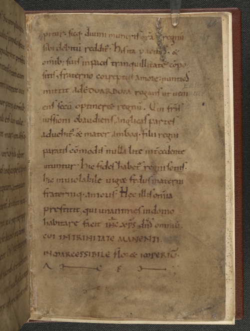 A text page from the ending of the earliest surviving copy of the Encomium Emmae reginae