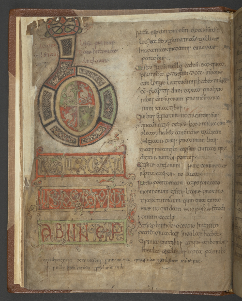 A page from the Tiberius Bede, showing the opening of his Ecclesiastical History, marked by a large decorated initial.
