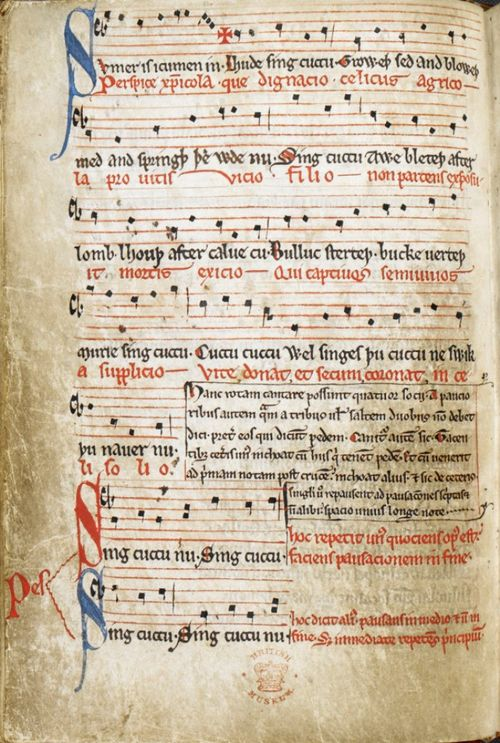 A page from a medieval manuscript, showing the text and musical notation of a Middle English song called 'Sumer is icumen in'.