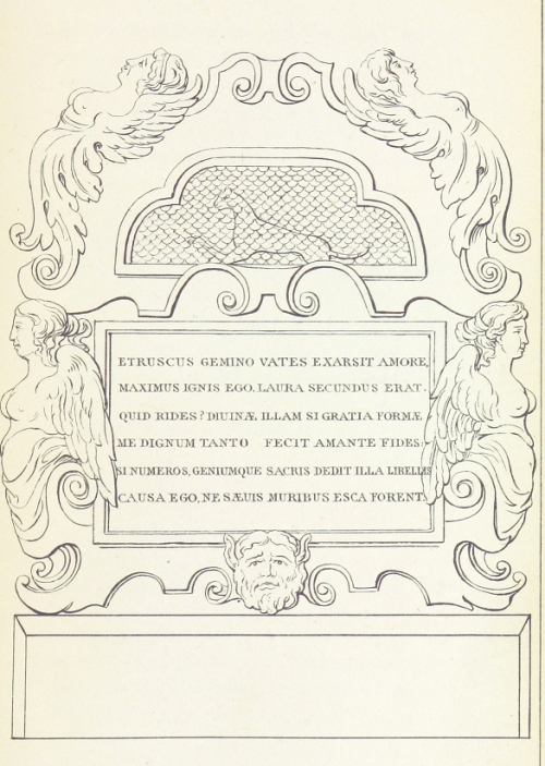 Engraving of the memorial to Petrarch's cat with the mummified cat and inscription