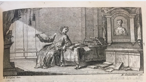 Illustration of Petrarch looking at a portrait of Laura while his cat looks on
