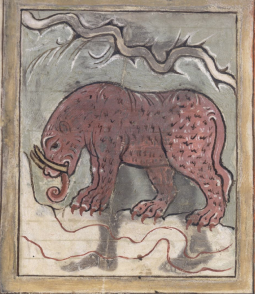 An illustration of an elephant accompanying the text of the Marvels of the East, in an 11th-century miscellany.