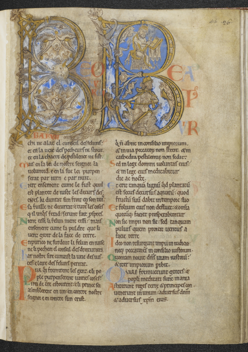 A page from the Winchester Psalter, showing the opening of Psalm 1, marked by a large historiated initial.