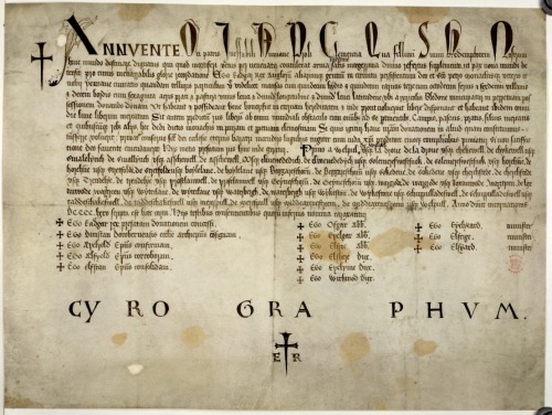 A 15th-century copy of a charter issued by King Edgar of England.