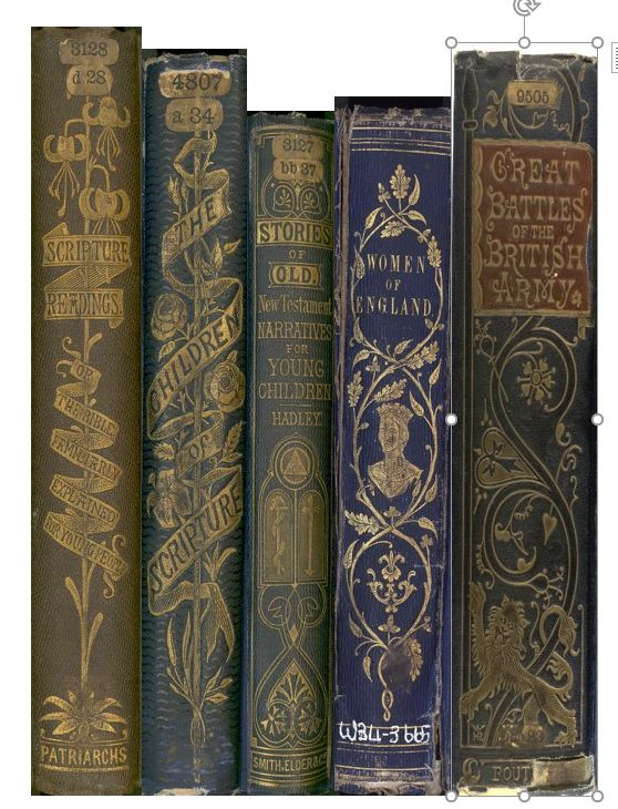 Five spines from gold blocked cloth bindings