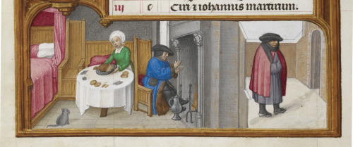 A calendar scene for January showing a cat eyeing its owners roast dinner