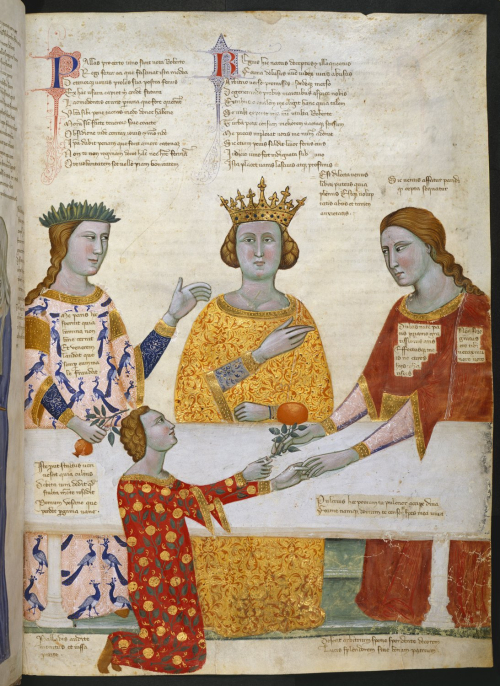 A page from the Carmina Regia, showing an illustration of the Judgement of Paris.