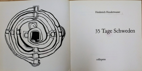 Title Page of 35 Tage Schweden with a labyrinth-like design on the facing page