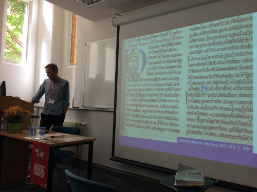Cristian Ispir presenting on a selection of the project manuscripts.