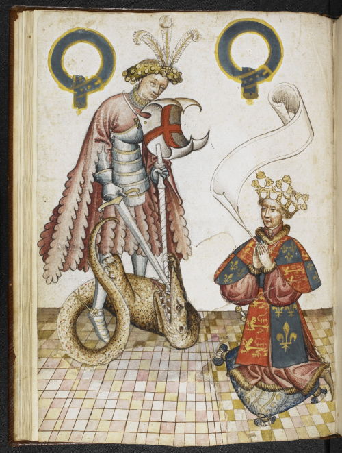 A page from William Bruggys' Garter Book, showing a portrait of St George.