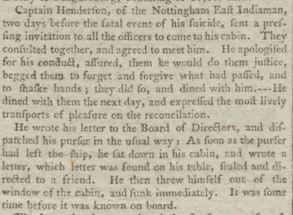 Article about Anderson's death in Chelmsford Chronicle 4 June 1790