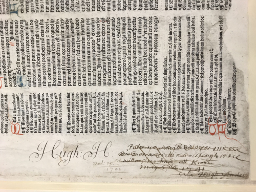 Note in the Anderson Pontifical