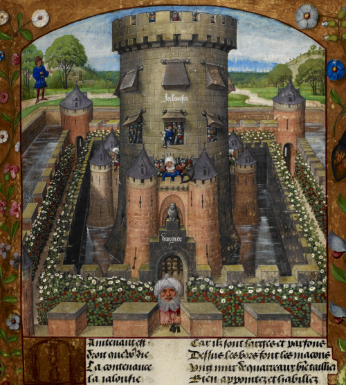 A detail from a manuscript of The Roman de la Rose, showing an illustration of the Castle of Jealousy.