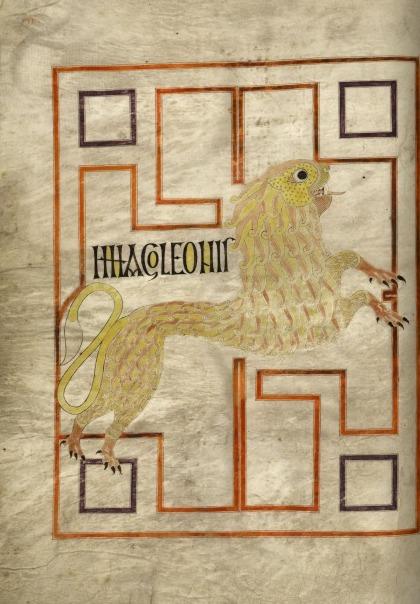 The lion of St Mark in the Echternach Gospels