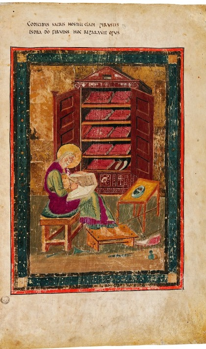 Miniature of Ezra writing in Codex Amiatinus