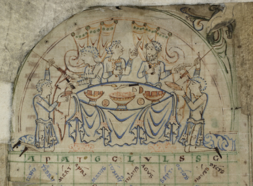 Depiction of a feast from a Psalter