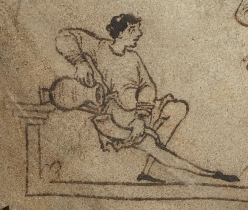 Detail of a man filling a drinking horn
